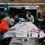 Volunteers making signs